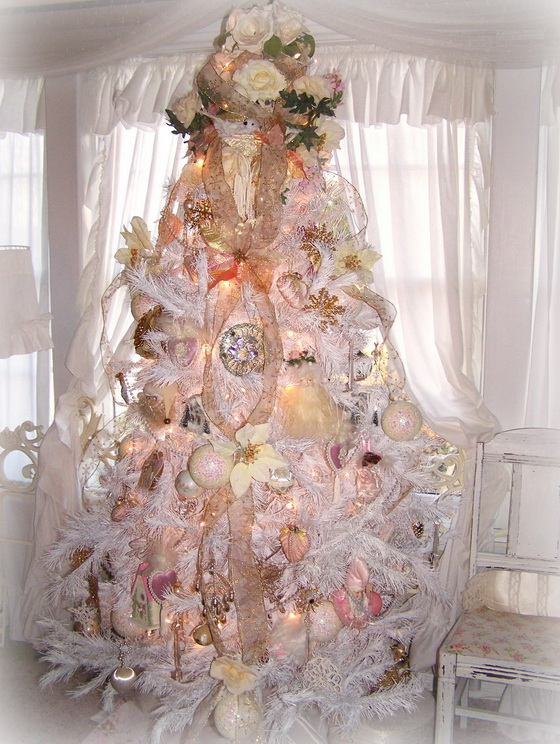 Shabby chic white christmas tree