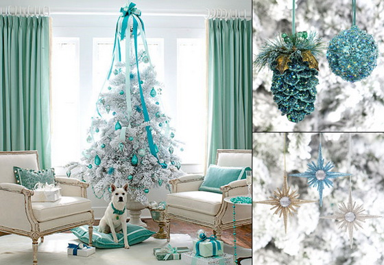 white-christmas-blue-tree-combination-decorated-non-traditional-unique-theme-fun-wreath-ornament-holiday-teal-lovely-feminine-livingroom-decoration