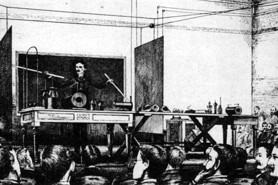Crtež napravljen za vrijeme Teslinog predavanja na sveučilištu Columbia.