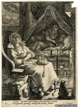 Roger Ekirch navodi da je ova gravura iz 1595. Jana Saenredama jedan od brojnih dokaza noćne aktivnosti.