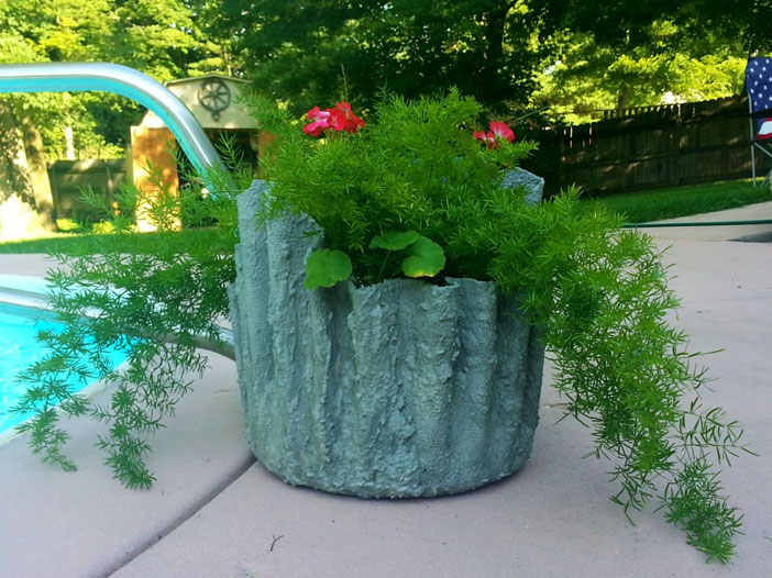 how to planters cement draped hypertufa concrete masonry container gardening diy