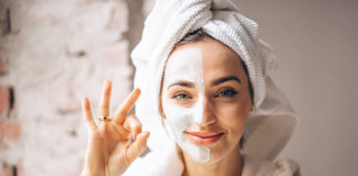 portrait woman with facial mask half face 1303 14319