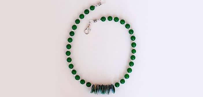 Ogrlica Lovely Green - Zeleni žad i sedef školjka