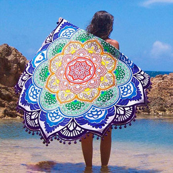 Hot Women Chic Tassel Indian Mandala Tapestry Lotus Printed Bohemian font b Beach b font Towel