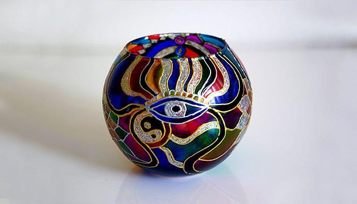 Ukrasna unikatna lampica za lučice BOŽANSKO OKO - Yoga art, ručni rad
