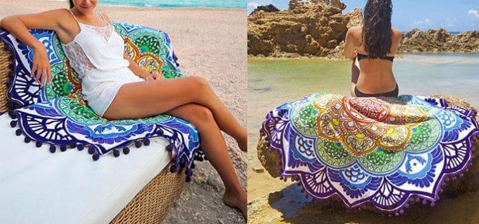 Hot Women Chic Tassel Indian Mandala Tapestry Lotus Printed Bohemian Beach Towel Yoga Mat Sunblock Round