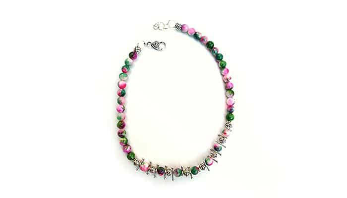 Ogrlica Zaljubljivanje - Ružičasto zeleni perzijski žad