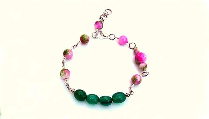 Narukvica Nestvarne djevojčice - Zeleni i ružičasto zeleni žad
