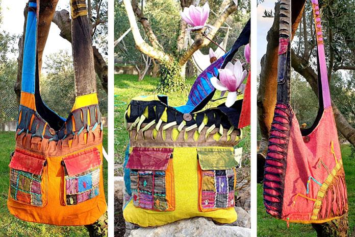 Stone washed Yoga Bag - Unikatne boho torbe iz Nepala (razor cut, patchwork)