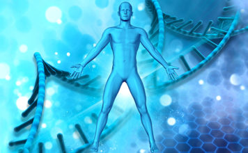 3d medical background with male figure dna strands background 1048 7515