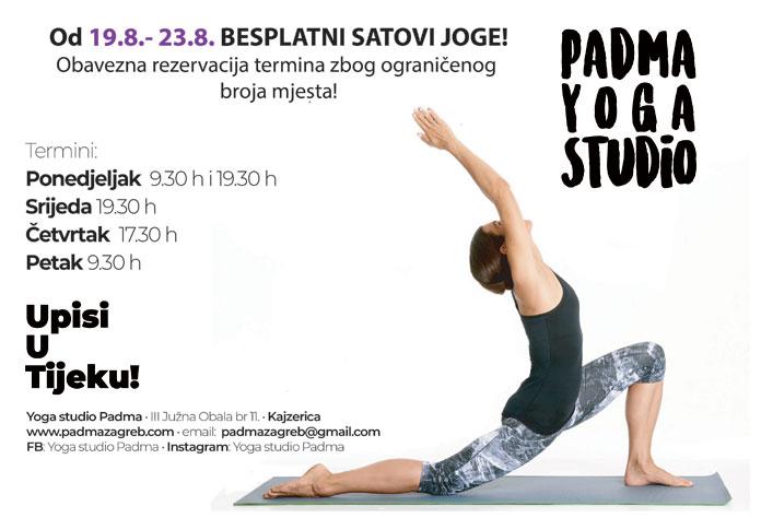 Besplatni satovi yoge u Padma studiju od 19.-23.08.2019.