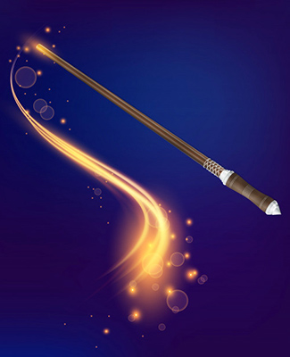 magic wand realistic composition 1284 18389