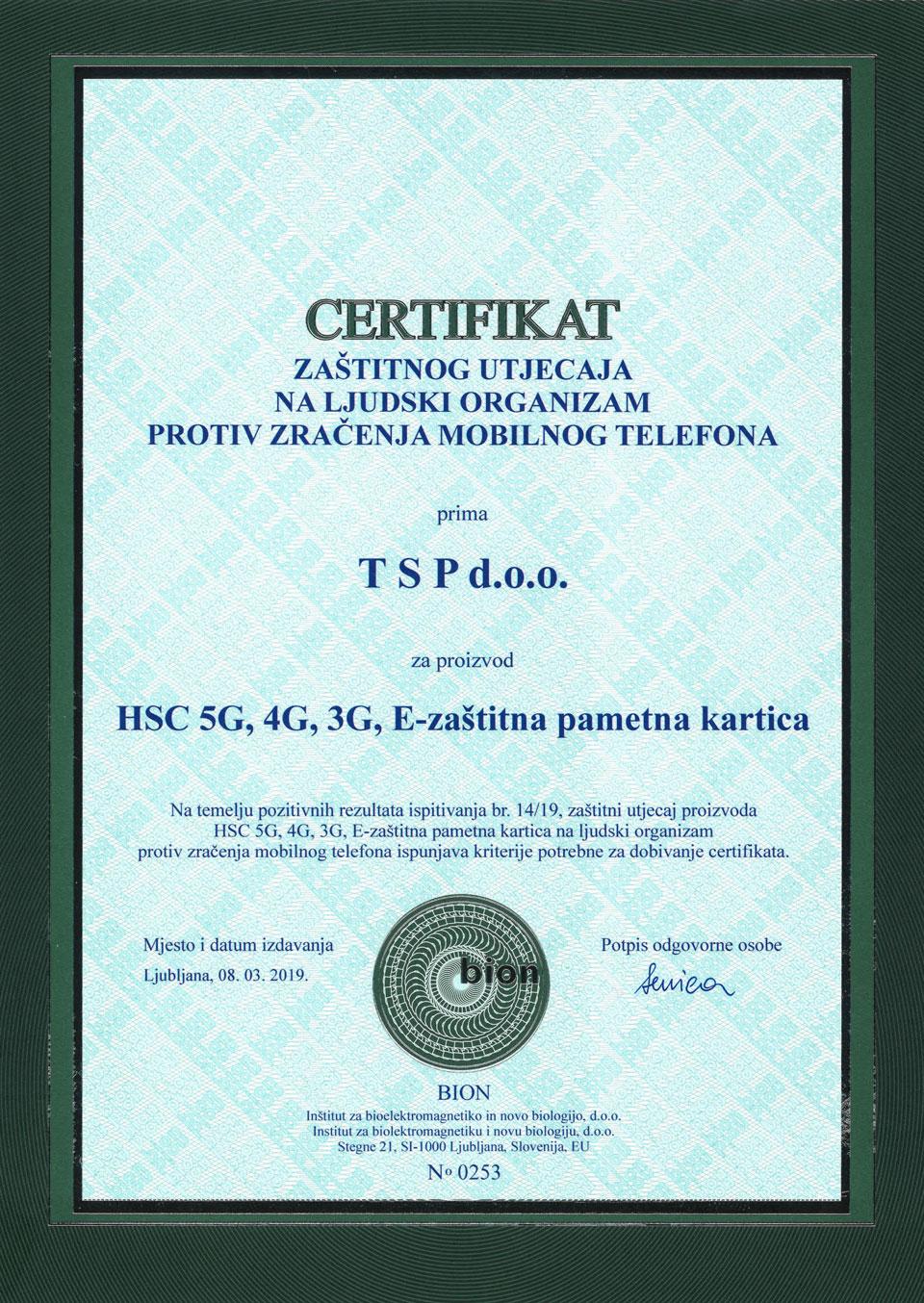 HSC smart card certifikat